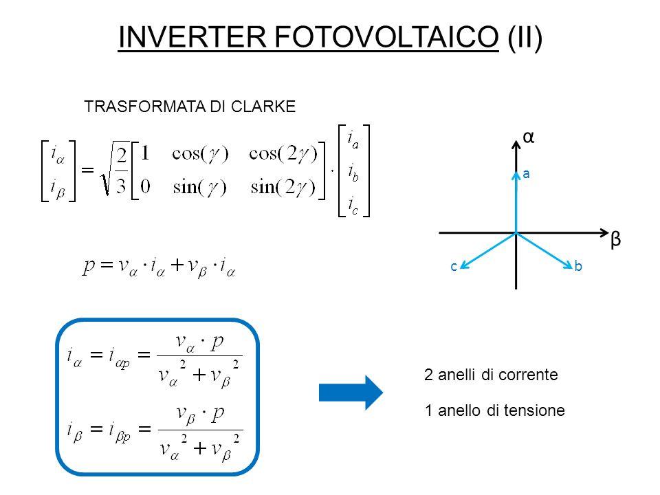 INVERTER FOTOVOLTAICO (II) α β a bc TRASFORMATA DI CLARKE 2 anelli di corrente 1 anello di tensione