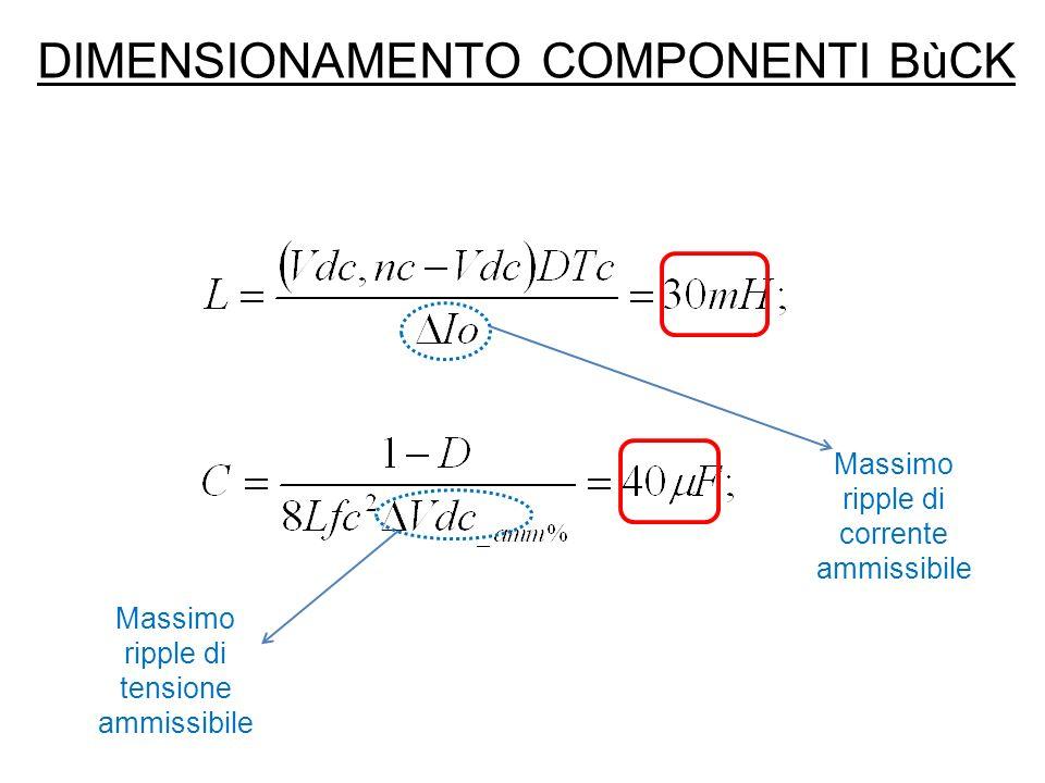 SIMULAZIONI BùCK (I) Equazioni caratteristiche del circuito: Resistenza parassita del condensatore (trascurata) Resistenza di perdita dellinduttanza
