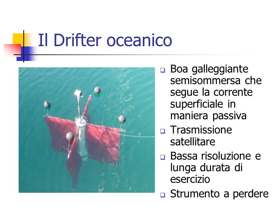Il Drifter oceanico Boa galleggiante semisommersa che segue la corrente superficiale in maniera passiva Trasmissione satellitare Bassa risoluzione e l