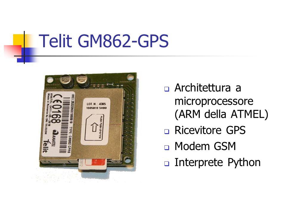 Telit GM862-GPS Architettura a microprocessore (ARM della ATMEL) Ricevitore GPS Modem GSM Interprete Python