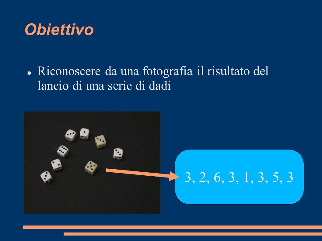 Obiettivo Riconoscere da una fotografia il risultato del lancio di una serie di dadi 3, 2, 6, 3, 1, 3, 5, 3