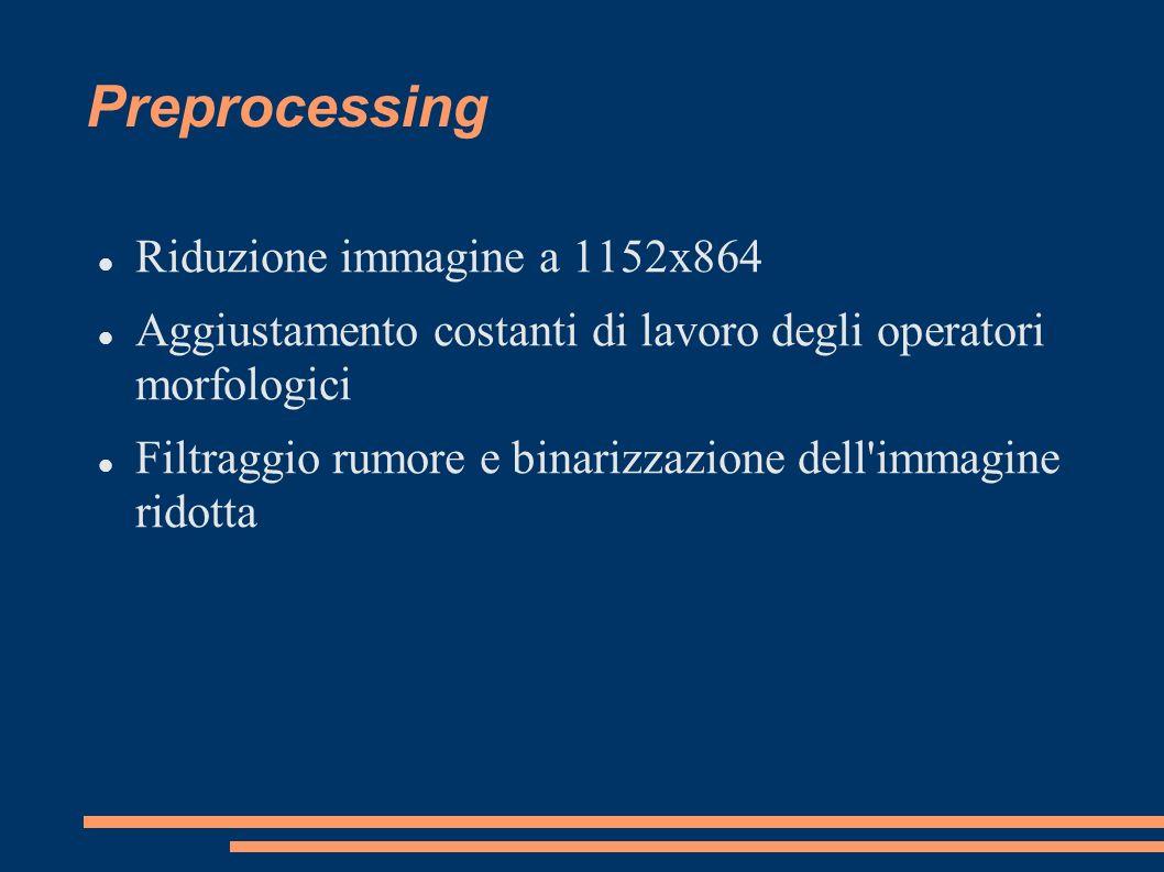 Preprocessing Riduzione immagine a 1152x864 Aggiustamento costanti di lavoro degli operatori morfologici Filtraggio rumore e binarizzazione dell'immag