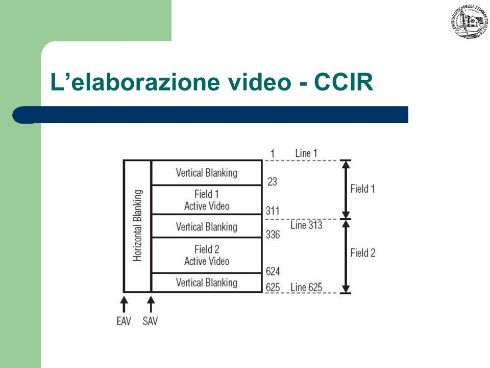 Lelaborazione video - CCIR