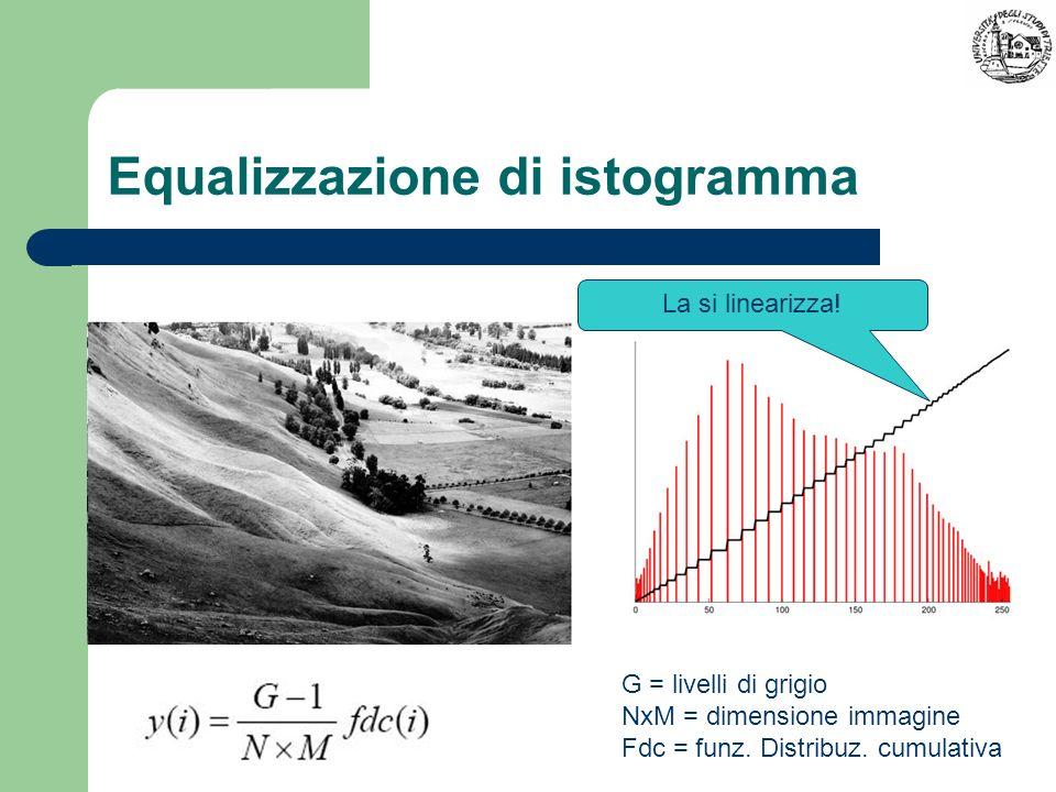 Equalizzazione di istogramma La si linearizza! G = livelli di grigio NxM = dimensione immagine Fdc = funz. Distribuz. cumulativa