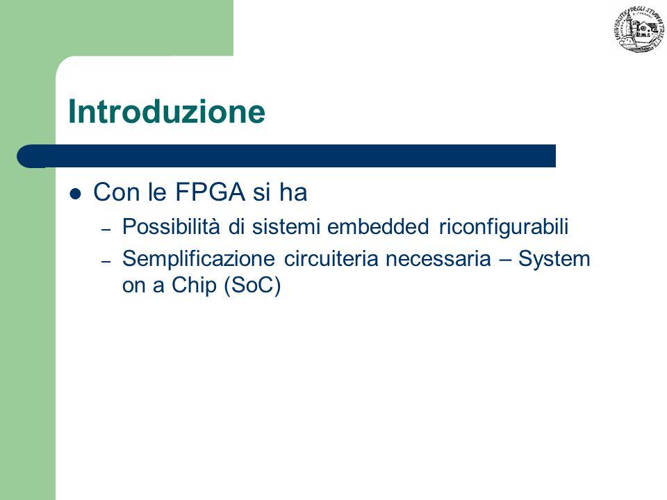 Introduzione Con le FPGA si ha – Possibilità di sistemi embedded riconfigurabili – Semplificazione circuiteria necessaria – System on a Chip (SoC)
