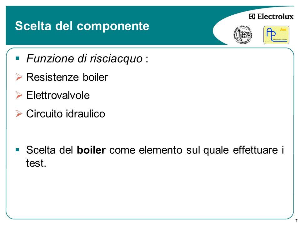 7 Scelta del componente Funzione di risciacquo : Resistenze boiler Elettrovalvole Circuito idraulico Scelta del boiler come elemento sul quale effettu