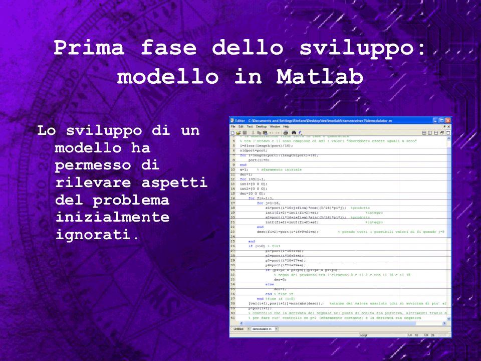 Prima fase dello sviluppo: modello in Matlab Lo sviluppo di un modello ha permesso di rilevare aspetti del problema inizialmente ignorati.