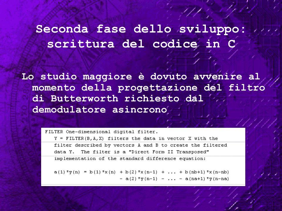 Seconda fase dello sviluppo: scrittura del codice in C Lo studio maggiore è dovuto avvenire al momento della progettazione del filtro di Butterworth r