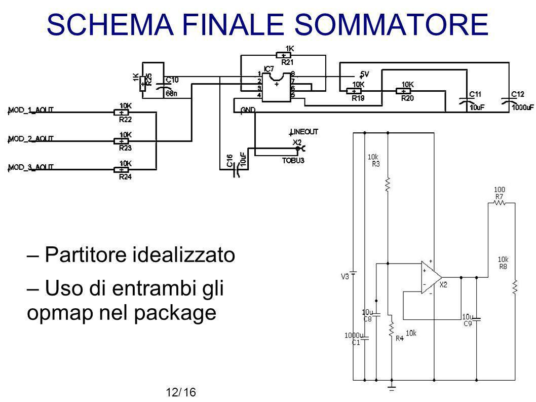 SCHEMA FINALE SOMMATORE – Partitore idealizzato – Uso di entrambi gli opmap nel package 12/16