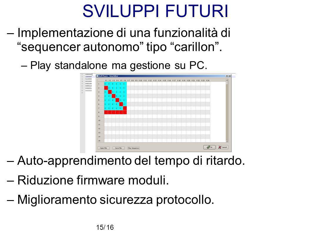 SVILUPPI FUTURI – Implementazione di una funzionalità di sequencer autonomo tipo carillon. – Play standalone ma gestione su PC. – Auto-apprendimento d