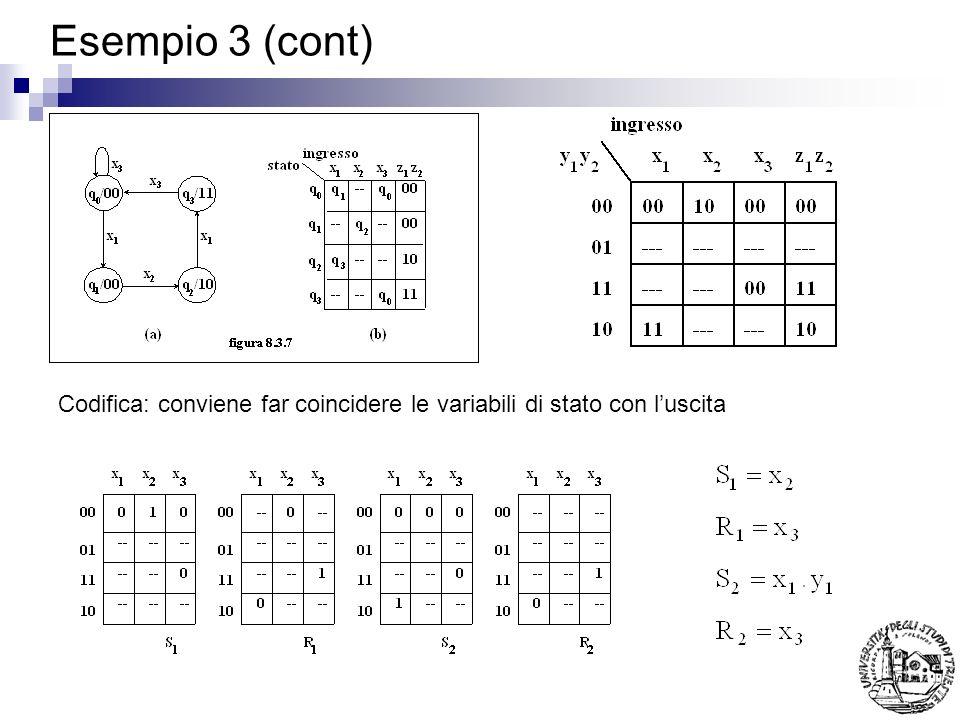 Esempio 3 (cont) Codifica: conviene far coincidere le variabili di stato con luscita