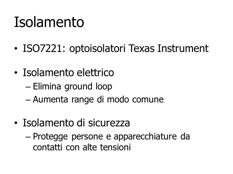 Isolamento ISO7221: optoisolatori Texas Instrument Isolamento elettrico – Elimina ground loop – Aumenta range di modo comune Isolamento di sicurezza –
