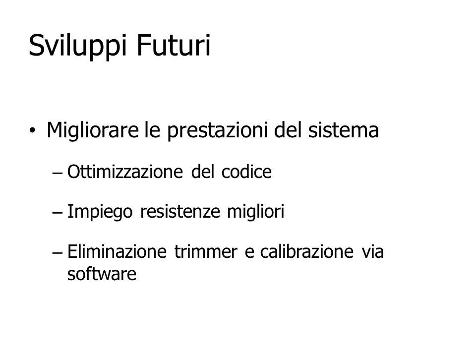 Sviluppi Futuri Migliorare le prestazioni del sistema – Ottimizzazione del codice – Impiego resistenze migliori – Eliminazione trimmer e calibrazione