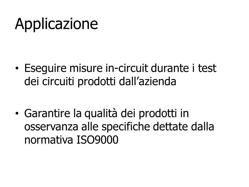 Applicazione Eseguire misure in-circuit durante i test dei circuiti prodotti dallazienda Garantire la qualità dei prodotti in osservanza alle specific