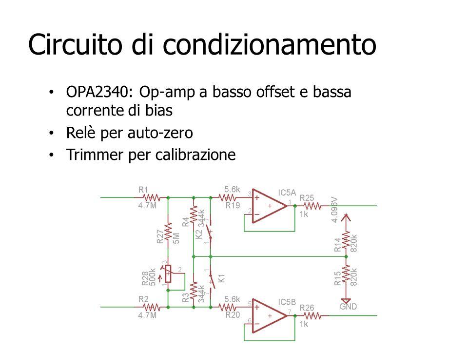Circuito di condizionamento OPA2340: Op-amp a basso offset e bassa corrente di bias Relè per auto-zero Trimmer per calibrazione