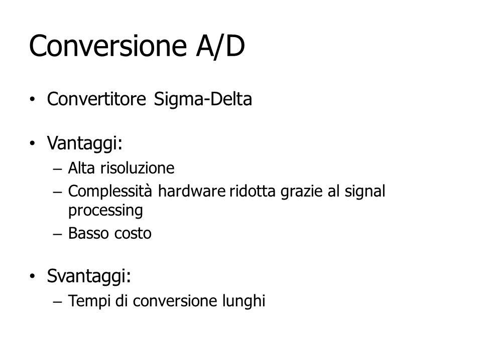 Conversione A/D Convertitore Sigma-Delta Vantaggi: – Alta risoluzione – Complessità hardware ridotta grazie al signal processing – Basso costo Svantag