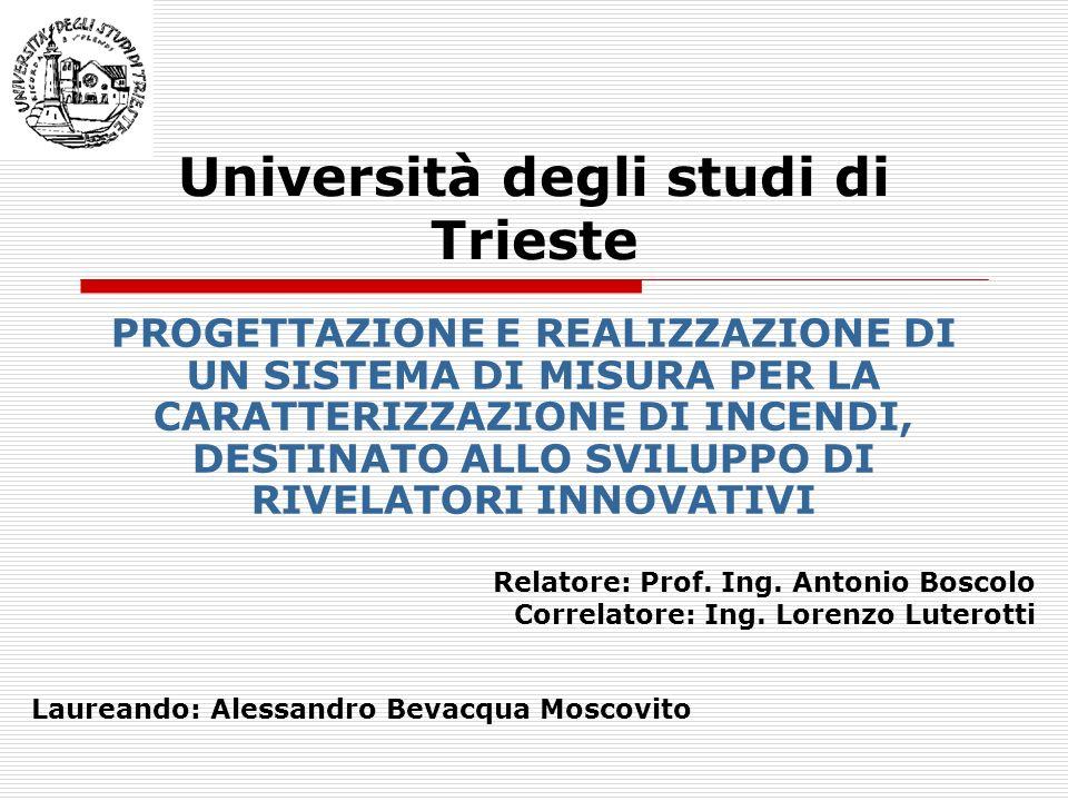 Università degli studi di Trieste PROGETTAZIONE E REALIZZAZIONE DI UN SISTEMA DI MISURA PER LA CARATTERIZZAZIONE DI INCENDI, DESTINATO ALLO SVILUPPO D