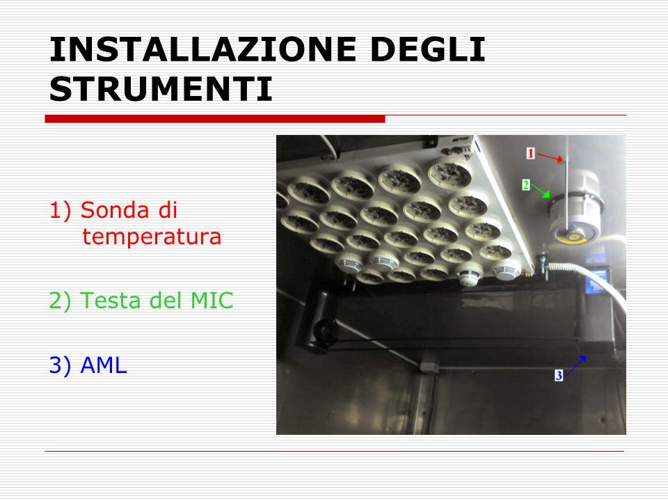 INSTALLAZIONE DEGLI STRUMENTI 1) Sonda di temperatura 2) Testa del MIC 3) AML