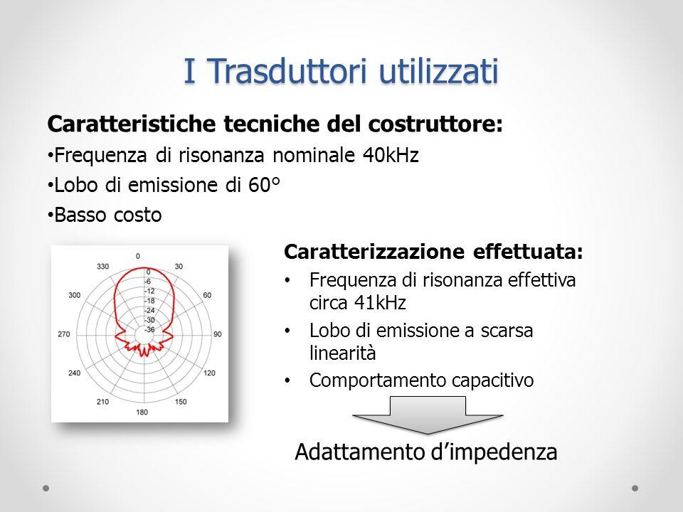 I Trasduttori utilizzati Caratteristiche tecniche del costruttore: Frequenza di risonanza nominale 40kHz Lobo di emissione di 60° Basso costo Caratter
