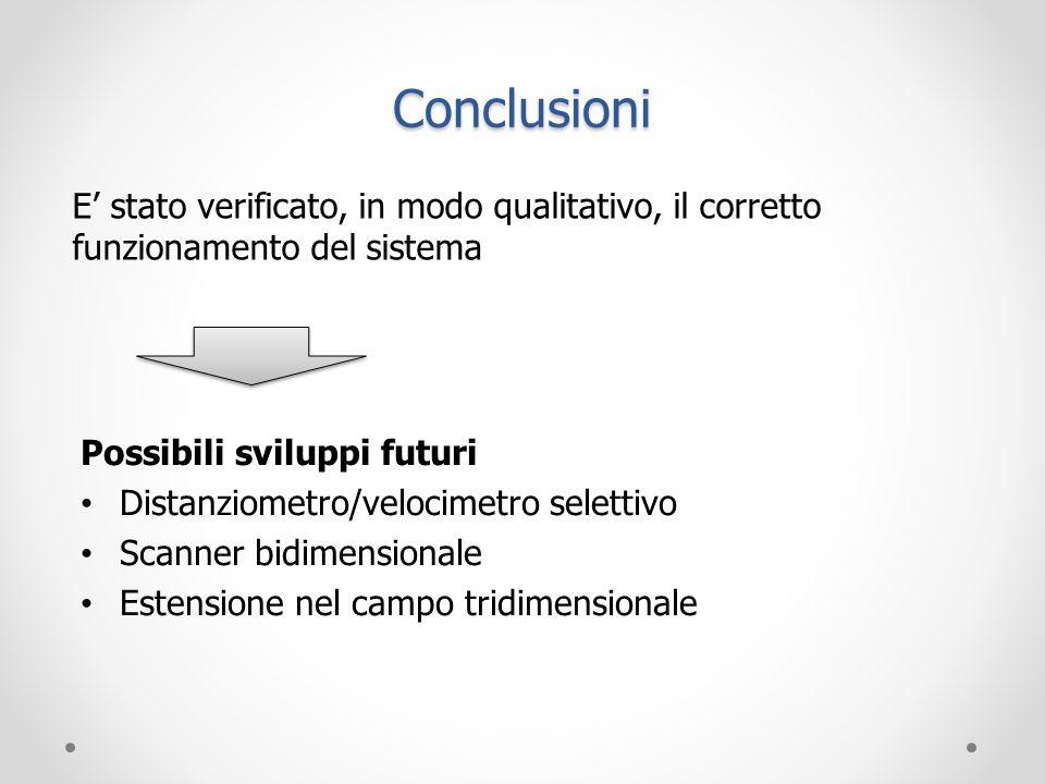Conclusioni E stato verificato, in modo qualitativo, il corretto funzionamento del sistema Possibili sviluppi futuri Distanziometro/velocimetro selett