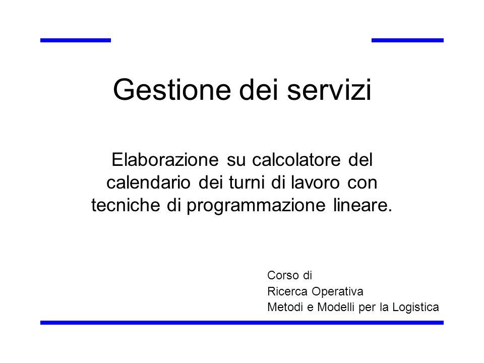 Implementazione su GAMS Definizione degli insiemi - esempi ppattugliatori /Benazzi, Bisaro, Celso, … Zarattin / r(p)responsabili /Benazzi, Bisaro, Celso/