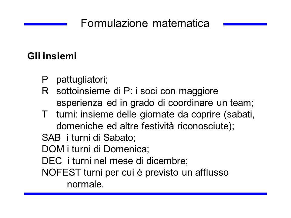 Formulazione matematica Gli insiemi Ppattugliatori; Rsottoinsieme di P: i soci con maggiore esperienza ed in grado di coordinare un team; Tturni: insi
