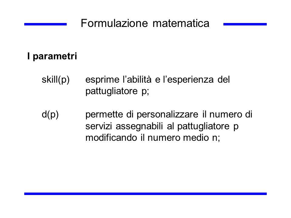 Formulazione matematica I parametri skill(p) esprime labilità e lesperienza del pattugliatore p; d(p)permette di personalizzare il numero di servizi a