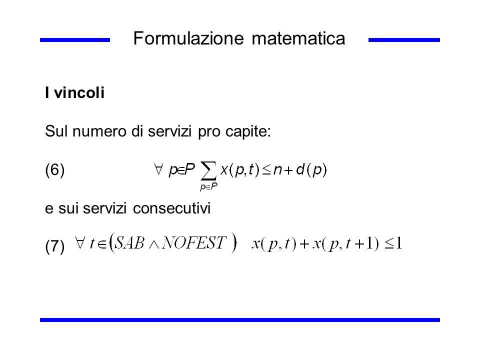 Formulazione matematica I vincoli Sul numero di servizi pro capite: (6) e sui servizi consecutivi (7)