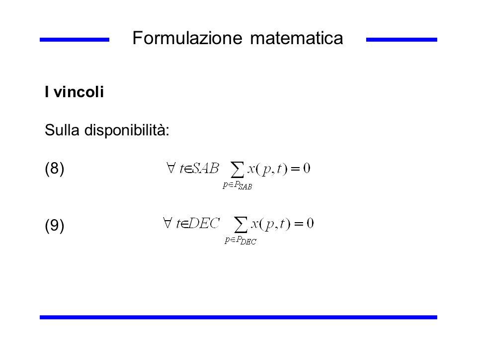 Formulazione matematica I vincoli Sulla disponibilità: (8) (9)