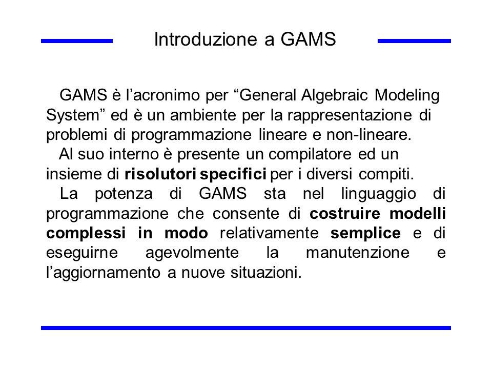 Introduzione a GAMS GAMS è lacronimo per General Algebraic Modeling System ed è un ambiente per la rappresentazione di problemi di programmazione line
