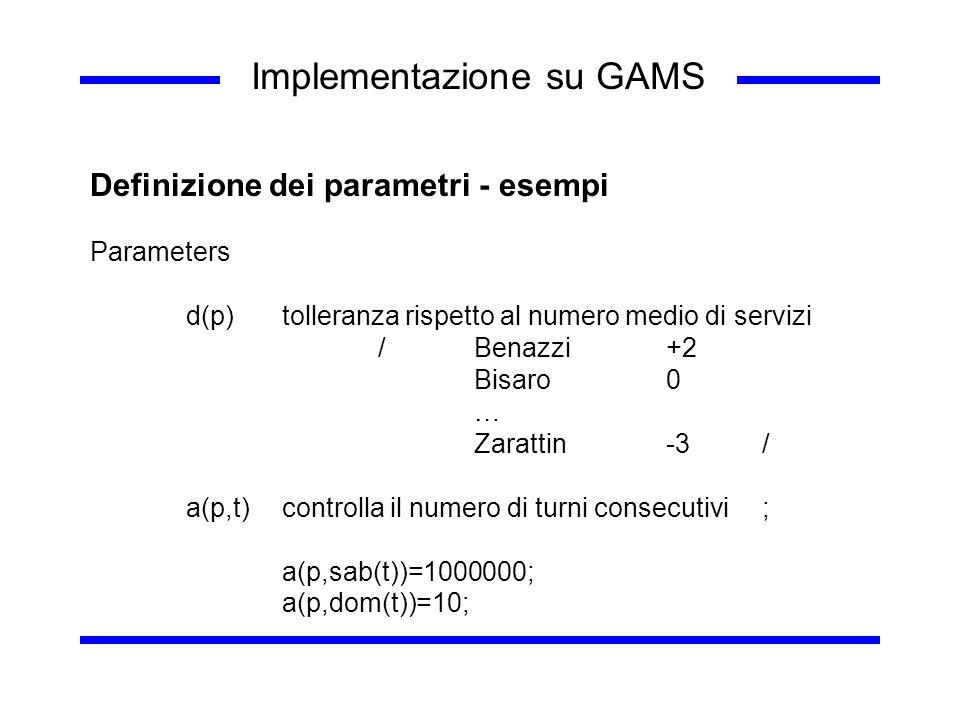 Implementazione su GAMS Definizione dei parametri - esempi Parameters d(p)tolleranza rispetto al numero medio di servizi /Benazzi+2 Bisaro0 … Zarattin