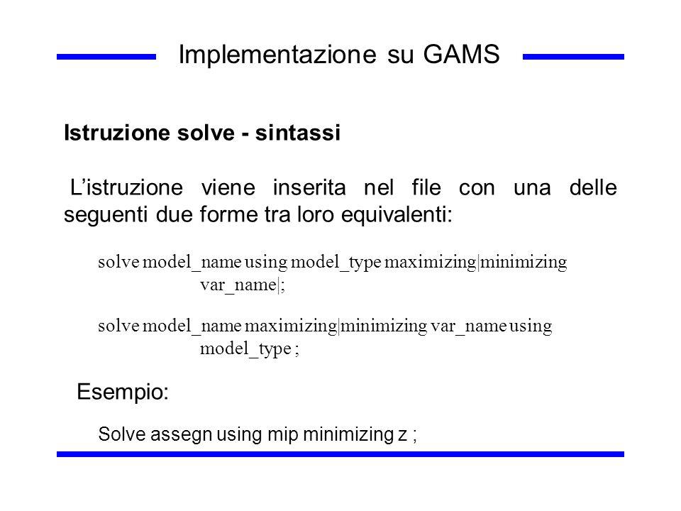 Implementazione su GAMS Istruzione solve - sintassi Listruzione viene inserita nel file con una delle seguenti due forme tra loro equivalenti: solve m