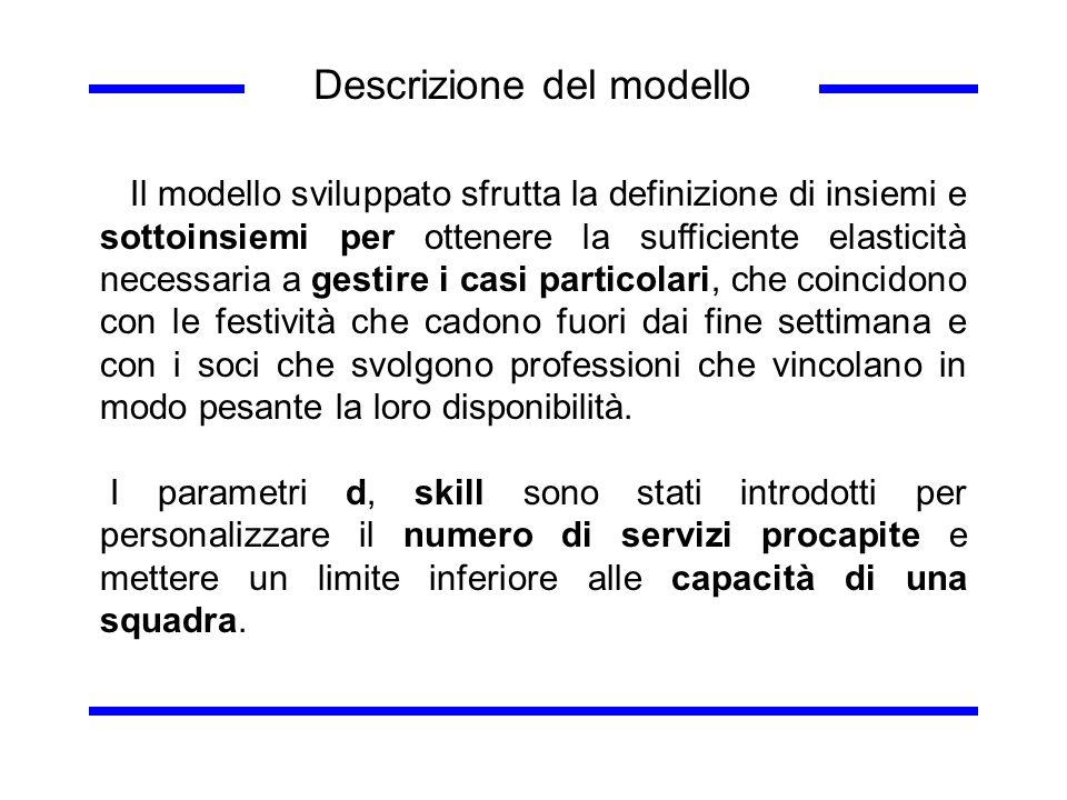 Descrizione del modello Il modello sviluppato sfrutta la definizione di insiemi e sottoinsiemi per ottenere la sufficiente elasticità necessaria a ges