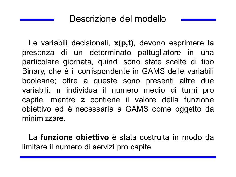 Descrizione del modello Le variabili decisionali, x(p,t), devono esprimere la presenza di un determinato pattugliatore in una particolare giornata, qu