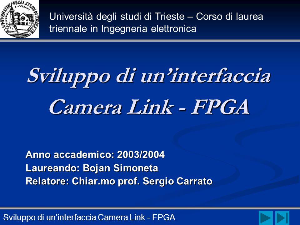 Sviluppo di uninterfaccia Camera Link - FPGA Anno accademico: 2003/2004 Laureando: Bojan Simoneta Relatore: Chiar.mo prof. Sergio Carrato Sviluppo di