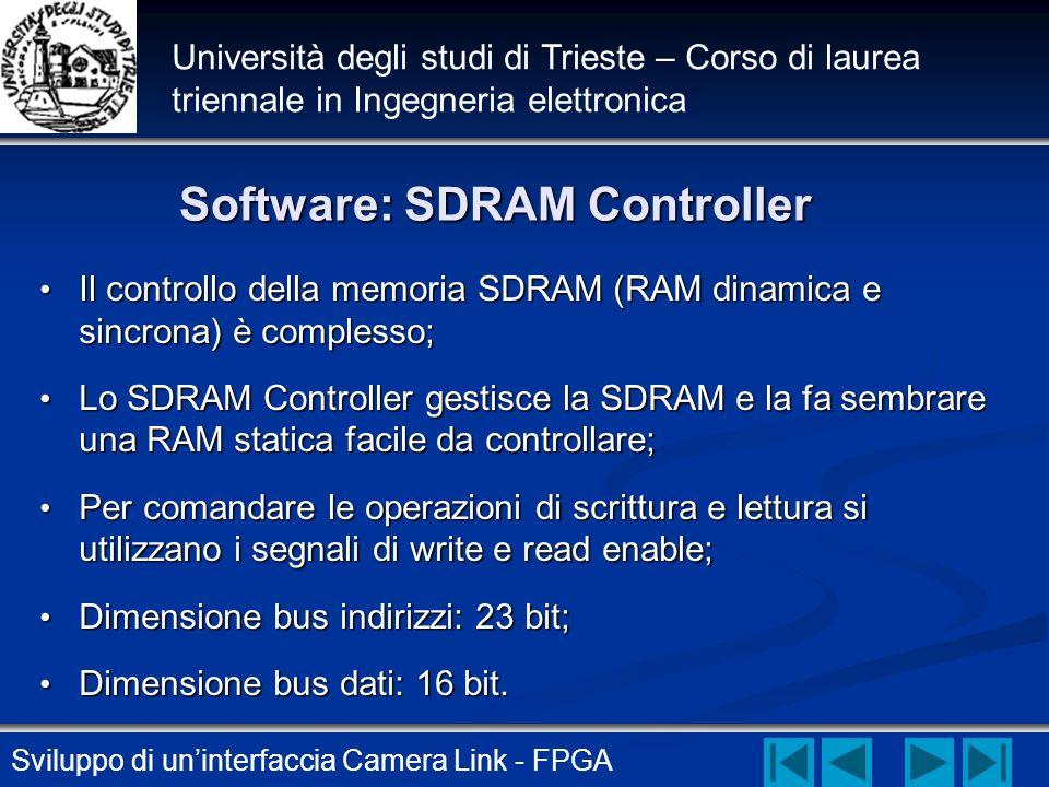 Sviluppo di uninterfaccia Camera Link - FPGA Università degli studi di Trieste – Corso di laurea triennale in Ingegneria elettronica Software: SDRAM C