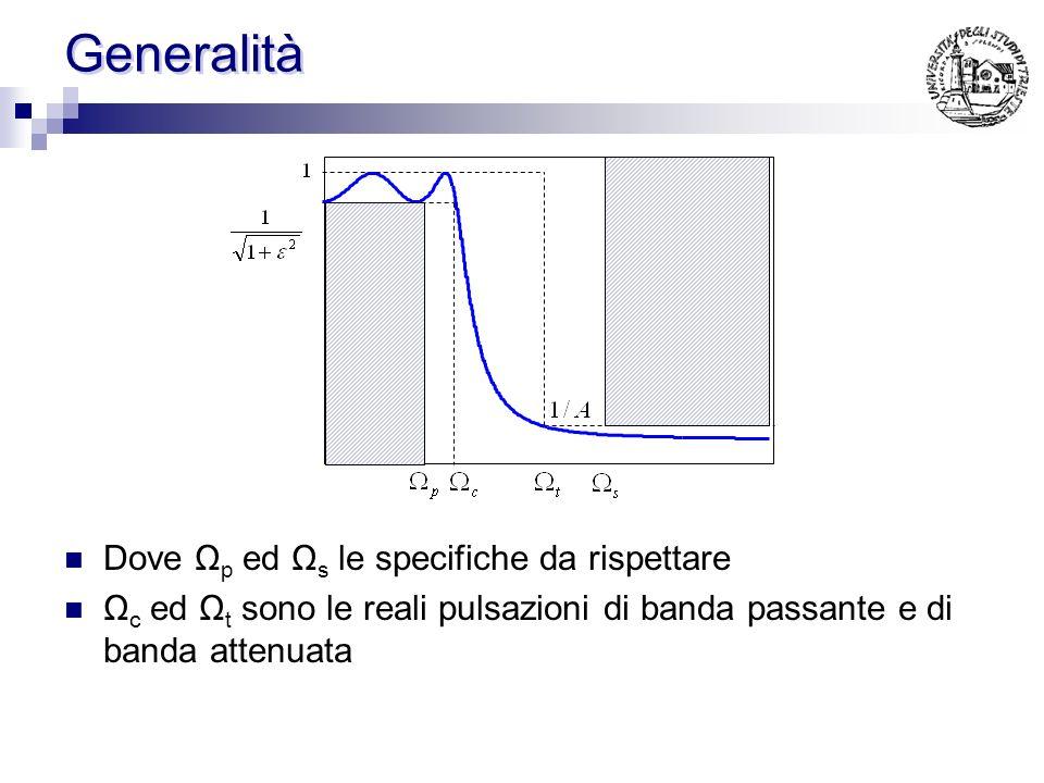 Generalità Filtri di tipo passa-alto, passa-banda, elimina-banda vengono ottenuti dal passa-basso tramite opportune trasformazioni