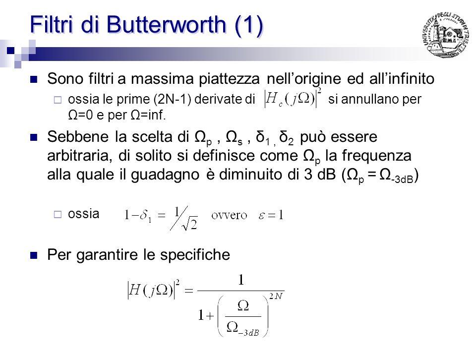 Filtri di Butterworth (2) In base allattenuazione A desiderata ad una certa frequenza Ω s si puo calcolare lordine minimo del filtro: Nel caso del filtro prototipo con ε=1 (Ω -3dB = 1) Nel caso generale si puo dimostrare: