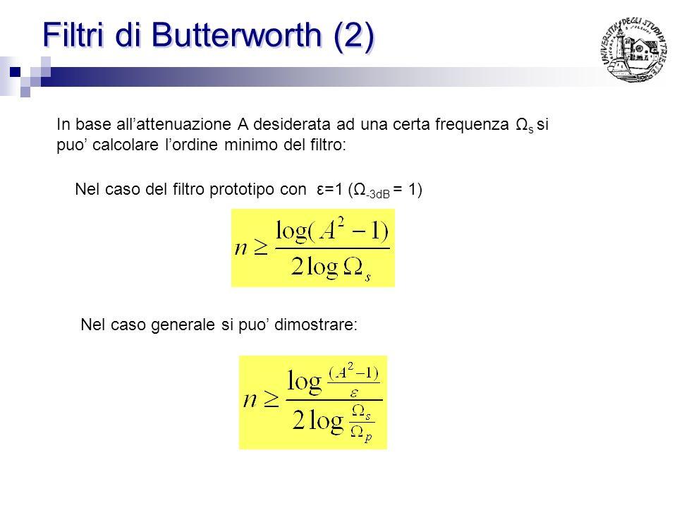 Filtri di Butterworth (3) Se le specifiche sono del tutto generiche Ci sono 2 gradi di liberta: Ordine n Frequenza di taglio a -3dB Ordine: si usa il minimo consentito Ω -3dB : Esiste tutta una famiglia di filtri che possono soddisfare le specifiche:
