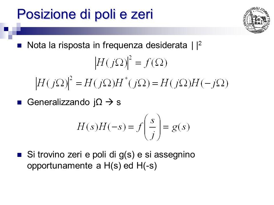 Posizione di poli e zeri (Butterworth) Nel filtro di Butterworth I poli complessivi si trovano risolvendo: per N pari per N dispari Es: n=2 Es: n=3