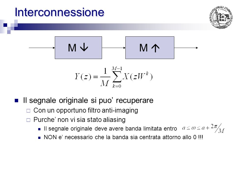 Effetti sullo spettro (Decimatore) Decimatore 2 Possibile effetto Aliasing !!!