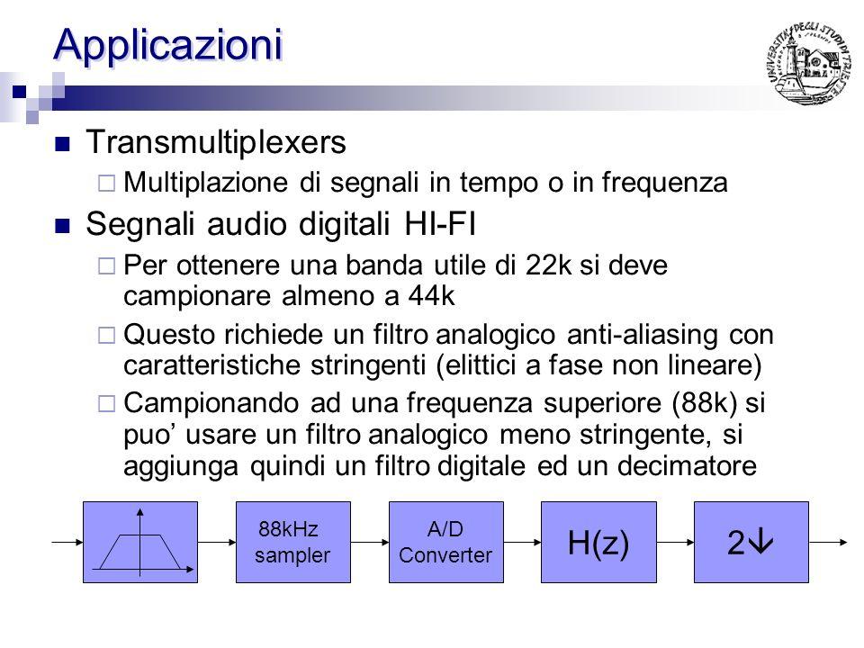 Uniform DFT filter banks Tutti i filtri derivano da un prototipo Ovvero Ossia sono versioni traslate dello stesso spettro … H0H0 H1H1 H2H2 H M-1 H0H0