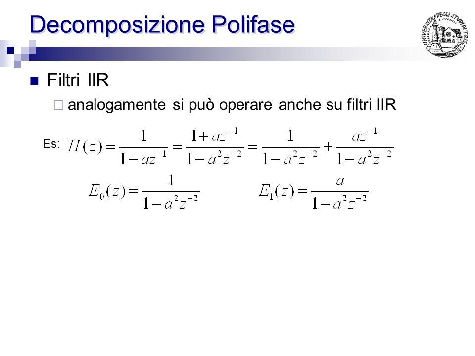 Decomposizione Polifase Si riuniscano i coefficienti h(n) di un filtro in piu gruppi (Ad es. pari e dispari) Es: [… 1 2 3 4 5 6 7 8 9 8 7 6 5 4 …]= […