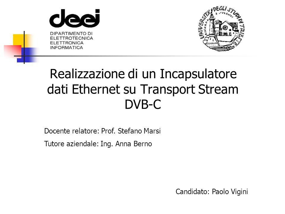 Realizzazione di un Incapsulatore dati Ethernet su Transport Stream DVB-C Docente relatore: Prof. Stefano Marsi Tutore aziendale: Ing. Anna Berno Cand