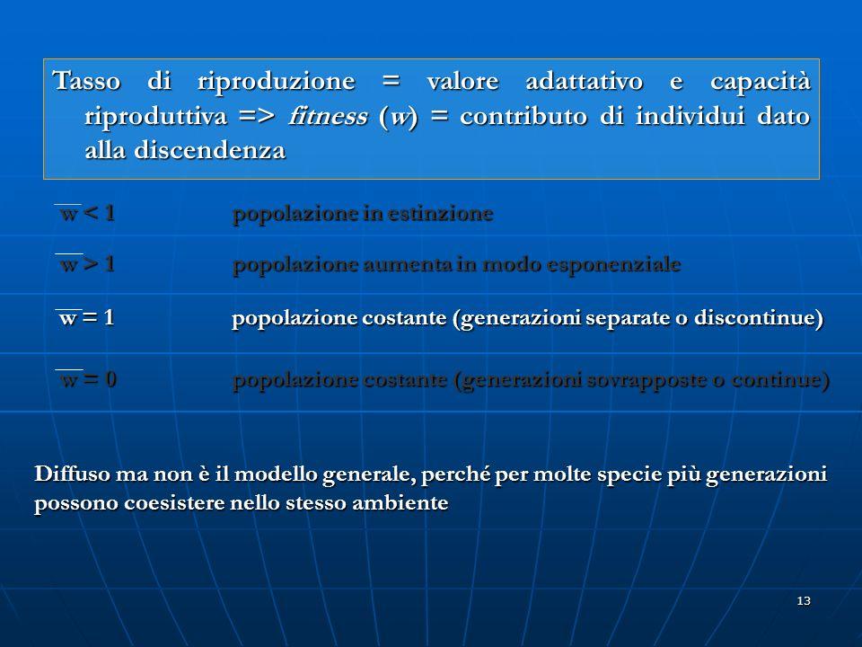 13 Tasso di riproduzione = valore adattativo e capacità riproduttiva => fitness (w) = contributo di individui dato alla discendenza w < 1 popolazione