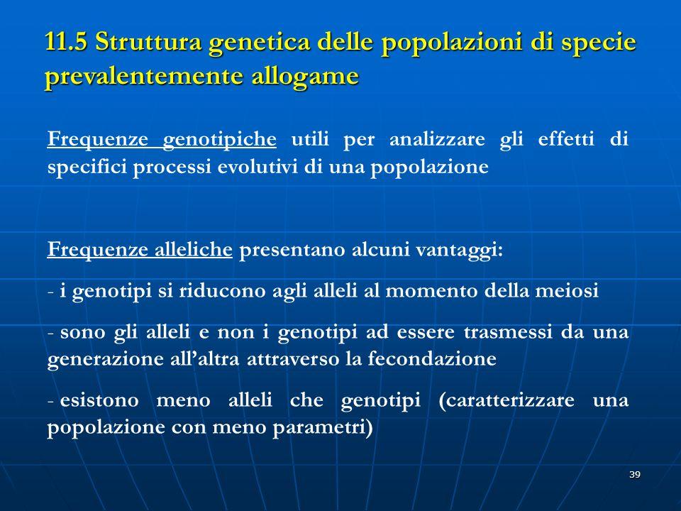 39 11.5 Struttura genetica delle popolazioni di specie prevalentemente allogame Frequenze genotipiche utili per analizzare gli effetti di specifici pr