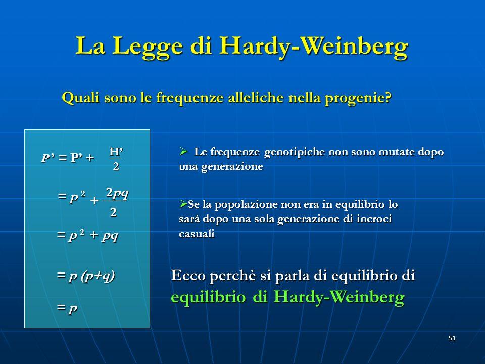51 Quali sono le frequenze alleliche nella progenie? La Legge di Hardy-Weinberg P = P + H2 Le frequenze genotipiche non sono mutate dopo una generazio