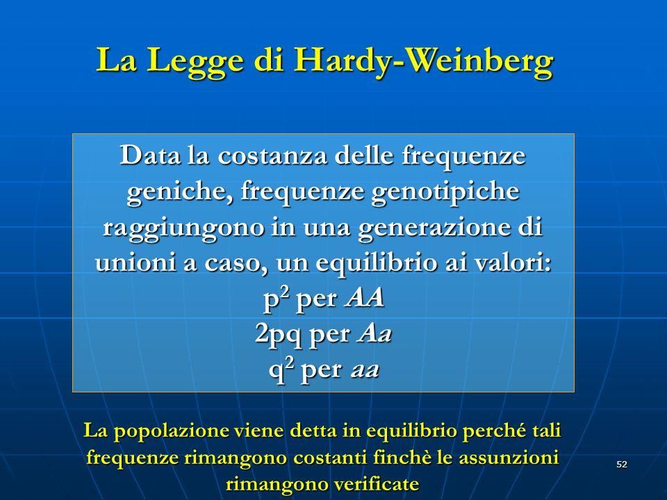 52 La Legge di Hardy-Weinberg Data la costanza delle frequenze geniche, frequenze genotipiche raggiungono in una generazione di unioni a caso, un equi
