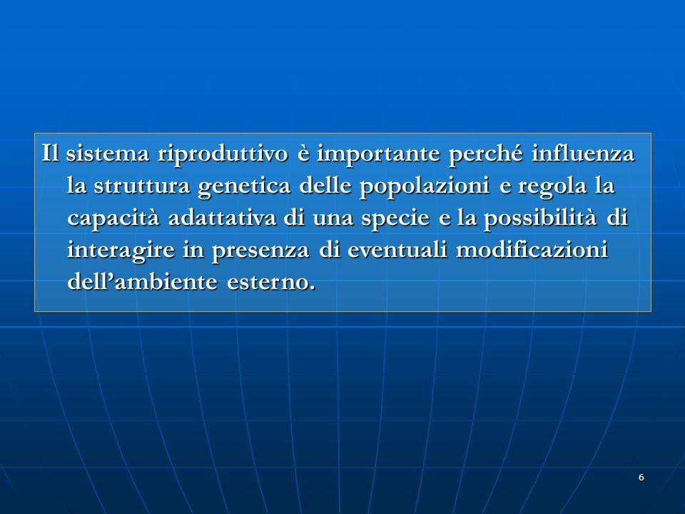 6 Il sistema riproduttivo è importante perché influenza la struttura genetica delle popolazioni e regola la capacità adattativa di una specie e la pos