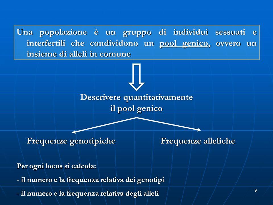 9 Una popolazione è un gruppo di individui sessuati e interfertili che condividono un pool genico, ovvero un insieme di alleli in comune Descrivere qu